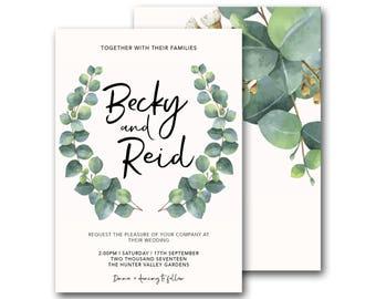 Greenery wreath wedding invitation, eucalyptus wreath wedding invitation, natural, greenery, white, green, wreath garden, boho (Botany)