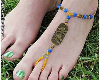 Ibiza Anklet beach summer bohemian boho beaded barefoot sandals slave anklet Hippie tribal foot jewelry body jewelry ocean footles sandals