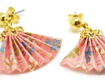 Japanese limited origami earrings Japanese craftsmen handcrafted Folding fan  F / S