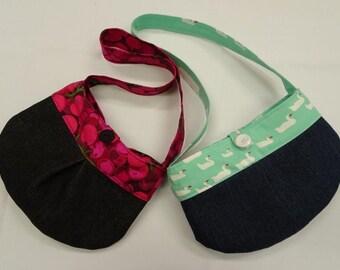 Girls bag, handmade, little tote bag, mini handbag, little girls bag, girls denim bag, shoulder bag, coin pouch