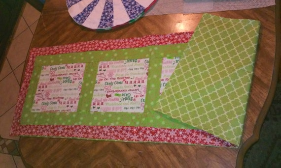 Christmas theme Rectangluar Table runner* Snowflakes and Candycanes*