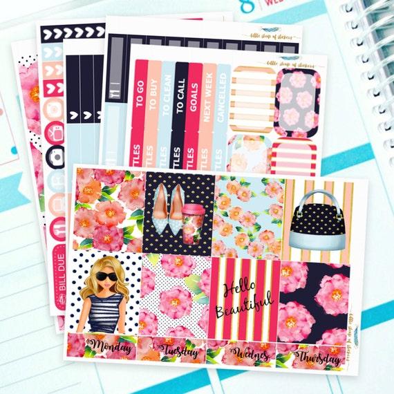 Floral    Weekly Planner Sticker Kit, Planner Stickers, Weekly Sticker Kit, Planner Decor, Decorating Sticker Kits, Full Planner Sticker Kit