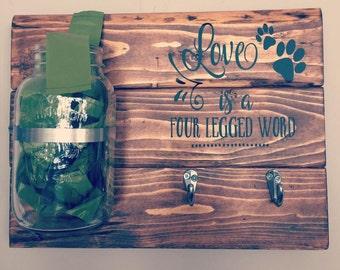 Dog Leash Holder, Dog Treat Holder, Treat and Leash Holder, Mason Jar Decor, Dog Organizer, Dog Wall Organizer, Mudroom Decor, Dog Lover