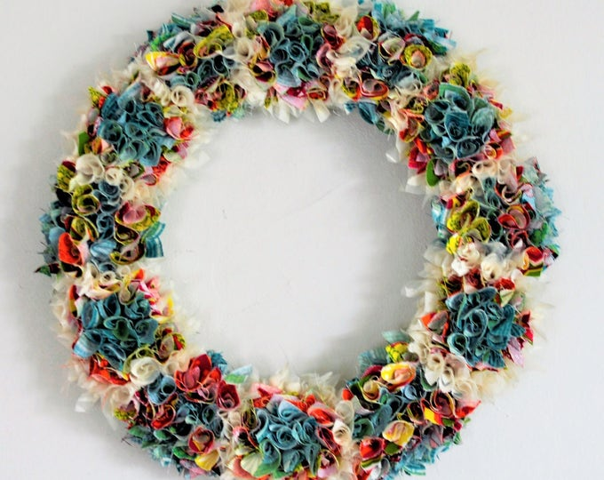 Spring Wedding wreath, two sided teal wreath, boho wreath, Spring decor, yellow wreath, fabric wreath, year round wreath, custom,