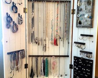 Jewelry Cabinet, Wall Organizer, Jewelry, Necklace Organizer, Handmade, Jewelry Organizer, Wall Mounted, Organization, Wooden, Jewelry