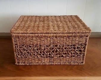 Seagrass Wicker Basket Picnic Storage Home Decor