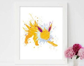 Pokemon art, Jolteon Pokemon, Jolteon nursery decor, Jolteon aquarelle, Jolteon poster, jolteon pokemon go, Eevee, jolteon evolution