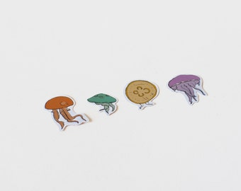 Series of stickers with illustrations of jellyfish
