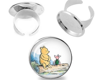 Winnie the Pooh Adjustable ring Piglet Winnie Pooh Ring Fandom Jewelry Fanboy Fangirl