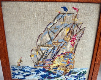 Vintage Fire Screen Guard Oak Wood Framed Handmade Tapestry Sailing Boat Sea FREE Delivery within 10-mile radius of EN3