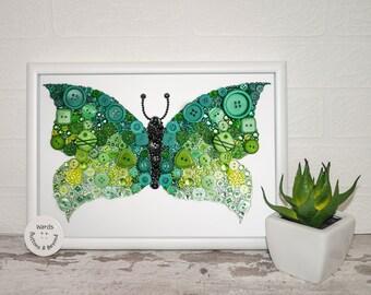 Butterfly Button Art Original, Swarovski Crystals, Preciosa Crystals, Embellishments, Sparkle, Bright