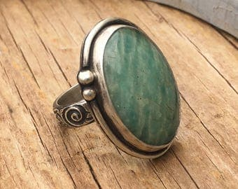Amazonite Sterling Silver Ring - Green Ring - Floral Ring - Green Gemstone - Boho Ring - Statement Ring - Size 9 - 17021