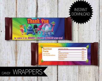 TROLLS Birthday Party PRINTABLE Candy Wrappers- Instant Download   Trolls Movie  Chocolate Wrappers