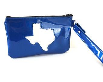 Blue State of Texas Sparkle Wristlet Purse, Glitter Auto Upholstery Vinyl, Retro Clutch Handbag