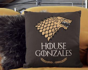 Game of Thrones Pillow of House Stark. Game of Thrones Gift. House Name Personalized Game of Thrones Decorative  Pillow. Housewarming Gift.