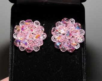 Vintage 1940/50 Rare Pink Crystal Earrings - converted from clip-on to pierced
