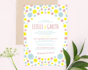 Daisy Fields Wedding Invitation <Bundle Suite> Invitation | Save the Date | RSVP | Envelope Seal - Customise