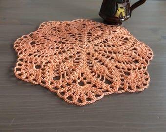 Crochet doily -peach colored