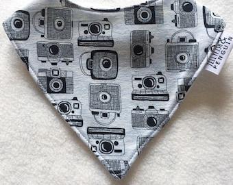 ON SALE Blue and grey camera handmade bandana style dribble bib