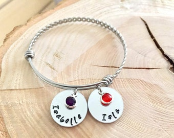 Personalised Bangle, Personalised, Bangle, Bracelet, Custom, Names, Birthstone, Personalised Bracelet, Childrens Names, Mothers Day, For her