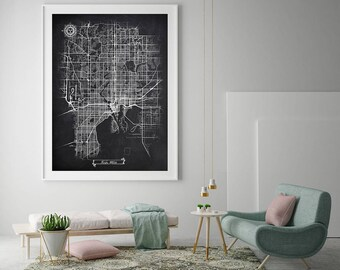 TAMPA FL Chalkboard Map Art Black and White Tampa Vintage City Map Oversized Graphic Drawn High Detailed Scheme Street Map Wall Art Decor