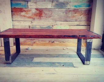Coffee table, Vintage, pallet and iron,109 cm x 49 cm