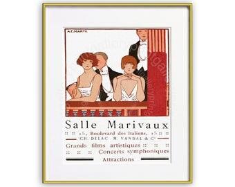 Art Deco French Theater Cinema Ad Print Magazine Page Advertisement 1920s Paris Chic Fashion Plate Twenties Ad 20s Wall Art Decor bd 366