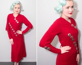 Vintage 1930s Crimson Red Wool Long Sleeved Dress with Metal Medallions | Bias Cut | Size XS