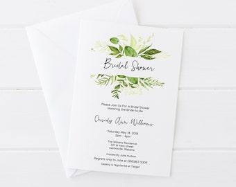 Bridal Shower Invitations, Printable Bridal Shower Invitations, Greenery Bridal Shower Invitations, Floral Bridal Shower, Floral Invitations