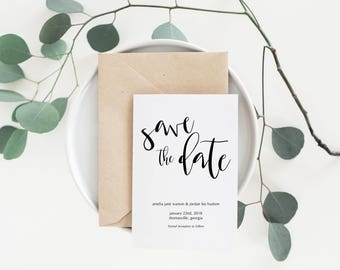 Save the Date, Modern Save the Date, Printable Save the Date, Save the Date Card, Minimalist Save the Date, Hand lettered Save the Date