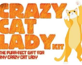 Crazy Cat Lady Joke Novelty Cat Lover Gift Kit