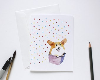 Corgi card / Corgi gifts / Birthday card / New pet card / Watercolor Corgi