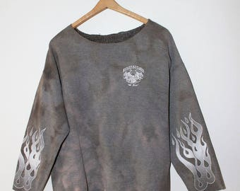 MOTORCYCLE Vintage bleach dyed bleached flame fire sweatshirt crewneck size M