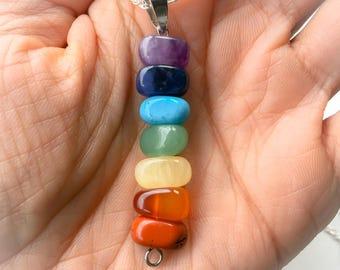 Tumbled Stones Chakra Necklace, Chakra Stones, Chakra Pendant
