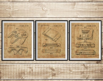 Nintendo Wall Decor, Patent Print Group, Gamer Art Poster, Nintendo 64 Print, N64 Console Print, Nintendo Art Print, N64, INSTANT DOWNLOAD