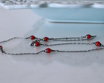 Oxidized sterling silver red coral necklace