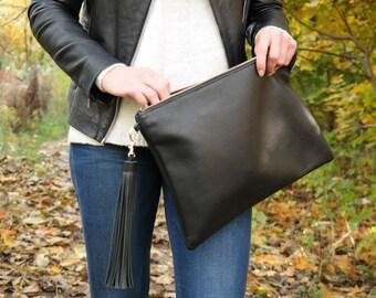 Leather CLUTCH Bag, Tassel Keychain,  Large Black Leather Clutch, Wedding Clutch, Leather Case, Leather Tassel & Lining - NEW YORK clutch-