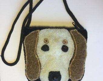 Black velvet and beaded dog purse.