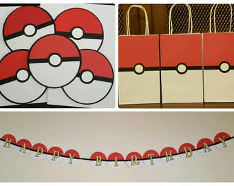 Pokémon Inspired Party Pack Pokéball themed bags banner invitations