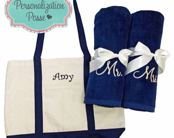 Custom Embroidered Tote Bag and Towel Set, Tote Bag and Beach Towel Set, Beach Sets