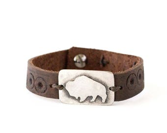 Buffalo Sterling Silver, Embossed Leather Cuff