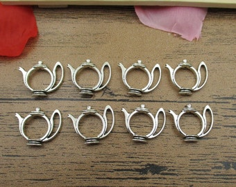 20 Teapot Charms,Antique Silver Tone,Double Sided,Fitting 10mm Beads-RS378