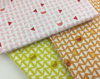 Catnap, Finn, by Lizzy House, for Andover, Fabric Bundle, Fat Quarter FQ, Half Yard, 1/2 yd, pink, yellow, ochre