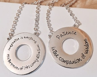 USA FREE SHIPPING-Patience and Imagination Necklaces Hand Stamped