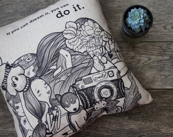 If You Can Dream It Illustration Pillow Cover, Decorative Pillow Cover, Throw Pillow, Pillow Cushion, Sofa Pillow, Cushion Cover