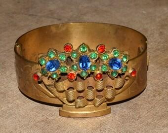 Vintage Art Deco Gold Hinged Bangle Bracelet Rhinestone Flower Basket
