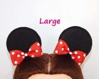 Mickey Mouse Ears  Minnie Mouse Mouse Ear Hair Clips with Bows Disneyland mini mouse ears Disney Party Birthday Favors Costume