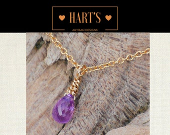 Tiny Sapphire Gemstone Teardrop 14K Gold Necklace