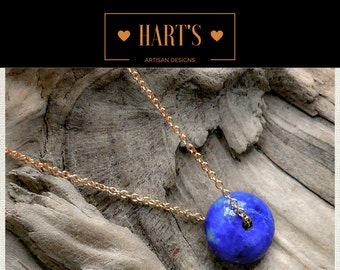 Blue Sodalite Gemstone 14K Gold Pendant Necklace