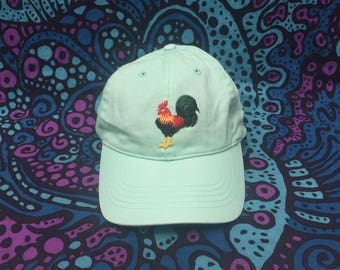 Embroidered Rooster Chicken Patch Baseball Cap - Hat - Teal - Sea-Foam Green Blue Pastel